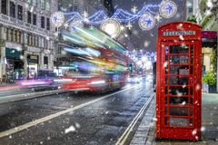 Winter scene on a London shopping high street royalty free stock photography