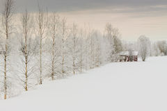 Winter Scene 2. A lonely sauna building in a freezing day by the river in the rural Finland royalty free stock photography