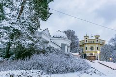 Winter scene of Marianske Lazne stock photo