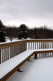 Winter Scene in Michigan. Winter scene from a deck in Michigan royalty free stock photography