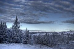 Winter scene with moody skies Royalty Free Stock Images