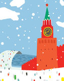 Winter Scene at Moscow Kremlin Royalty Free Stock Images