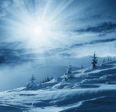 Winter scene in mountains royalty free stock photography