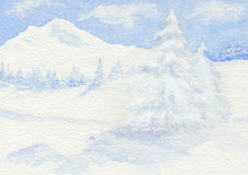 Winter scene in the mountains. Royalty Free Stock Images