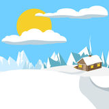 Winter scene with mountains and a wooden house Stock Photography