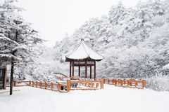 Winter scene at mt. emei. Winter scene with a Pavilion at mt. emei Royalty Free Stock Photos