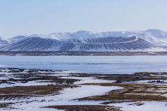 Winter Scene in Myvatn Volcano, Iceland Royalty Free Stock Photo