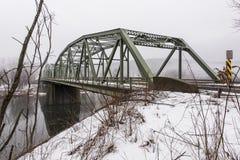 Winter Scene Of Historic Truss Bridge Over Delaware River Stock Image