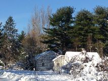 Winter scene old house Royalty Free Stock Photography
