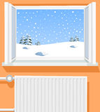 Winter scene through opened window Stock Photos
