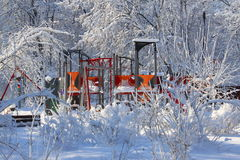 Winter scene in the park - playground Stock Photo