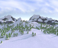 Winter Scene with Pine Trees. 3D illustration of a snowy mountain scene Stock Photography
