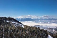Winter scene in Poiana Brasov. Winter scene of the Carpathian mountains as seen from Poiana Brasov, Romania Stock Image