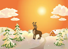 Winter scene with reindeer Royalty Free Stock Images