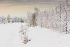 Winter Scene 3. A river bend on a freezing day in the rural Finland royalty free stock photos
