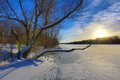 Winter scene on river Royalty Free Stock Photos