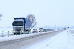 Winter scene on the road Royalty Free Stock Images