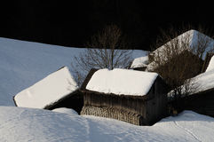 Winter scene at the San Pellegrino pass in the Dolomites in the Val di Fiemme, Trento, Italy. Stock Image