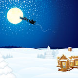 Winter Scene with Santa Claus Wooden House Stock Photos