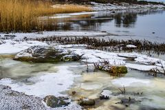 Winter scene by the sea, ice and snow by the water edge. stock images