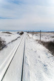 Winter scene of Senmo Line in Shiretoko, Hokkaido Japan. The Senmo Line is a Japanese railway line in Hokkaido between Higashi-Kushiro Station in Kushiro and Royalty Free Stock Photos