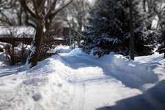 Winter Scene. This winter scene showcases an alley way in a small town Stock Images