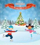 Winter scene with skating children royalty free illustration