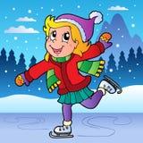 Winter scene with skating girl. Vector illustration Royalty Free Stock Image