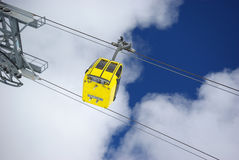 Winter scene, ski lift. Image of cable car in Mayrhofen Stock Photography