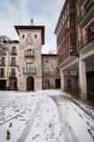 Winter scene of a snowed cityscape landscape of the ancient village of Briviesca in Burgos Province, Castilla y Leon, Spain. Winter scene of a snowed cityscape royalty free stock photos