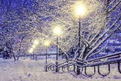 Winter scene. Snowfall in night park with lanterns. Christmas background. Snowflakes fall on snow. Stock Photo