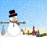 Winter Scene with Snowman and Bavarian Village. Vector Winter Scene with Snowman, Decorated Tree and Bavarian Village Stock Photos