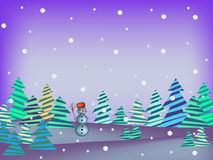 Winter scene with snowman Royalty Free Stock Photo