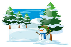 Winter scene with snowman in the snow field Royalty Free Stock Image