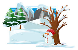 Winter scene with snowman on snow Stock Photo