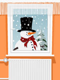 Winter scene from the snowman through window Stock Photography
