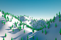 Snowy Forest. A winter scene of a snowy fir tree forest Royalty Free Stock Photos