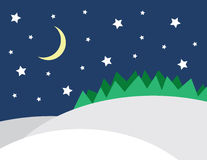 Winter Scene Stars. Winter scene with stars and forrest Royalty Free Stock Photos