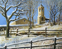 Winter Scene in Stoykite. An oil painting on canvas of a small old church high in the mountain with deep snow. Seasonal winter scene Stock Images