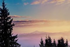 Winter scene with sunset in Beautiful winter landscape with snow covered trees. Winter scene with sunset in mountains Royalty Free Stock Images
