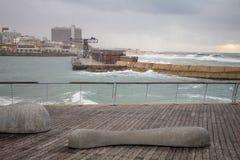 Winter scene, in the Tel-Aviv Port royalty free stock images