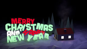 Winter scene with text-Merry Christmas and Happy New Year. 3 D render of festive winter Christmas scene with illuminated text saying  Merry Christmas and Happy Royalty Free Stock Images