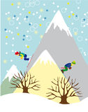 Winter Scene with Two Skiers. Two Skiers on High Mountains Background - Colorful Vector Illustration Royalty Free Stock Photography