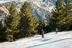 Winter scene, two skiers on the slope stock photos