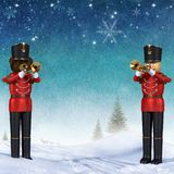 Winter scene with two toy soldiers playing trumpets. stock image