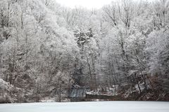 Winter Scene Waterfall Antietam Lake Royalty Free Stock Photo