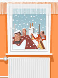 Winter scene through window Royalty Free Stock Photos