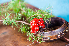 Free Winter Scene With Fresh Green Branches Of Pine, Holly, Juniper, Cones, Star, Red Berries Barberry In Natural Wooden Royalty Free Stock Image - 81908076