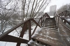 On wooden bridge in Moscow royalty free stock photography