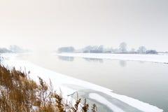 Winter Scene on the River Stock Photos